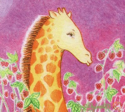 Giraffe Among Tall Raspberries - detail - Ingrid Sylvestre