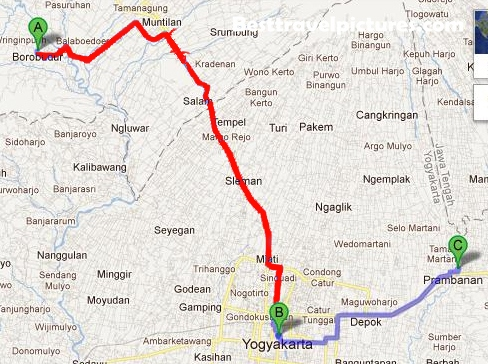 About Yogyakarta: The Map to Borobudur from Yogya