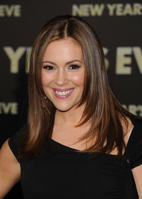 Alyssa Milano Medium Straight Cut Hairstyles