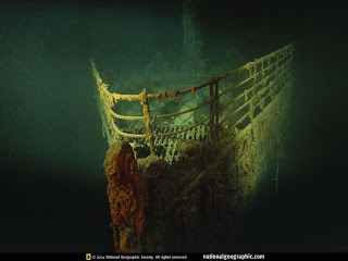 The bow of the Titanic as it sits on the sea floor