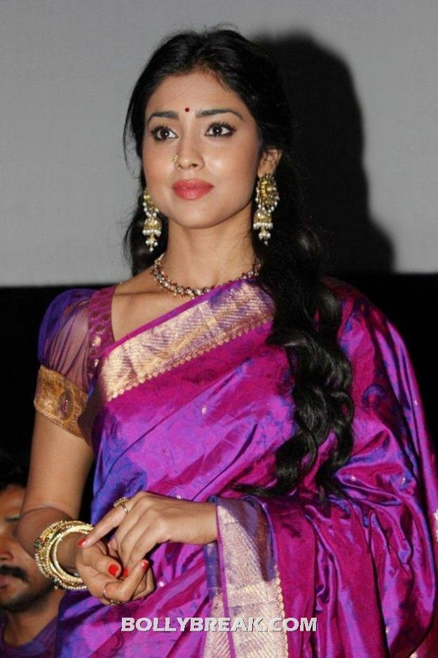 Shriya saran looks amazing in this purple traidtional indian sari - Shriya saran purple saree photos