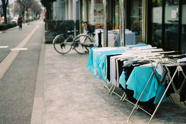 color of vivid blue at roadside in sendai