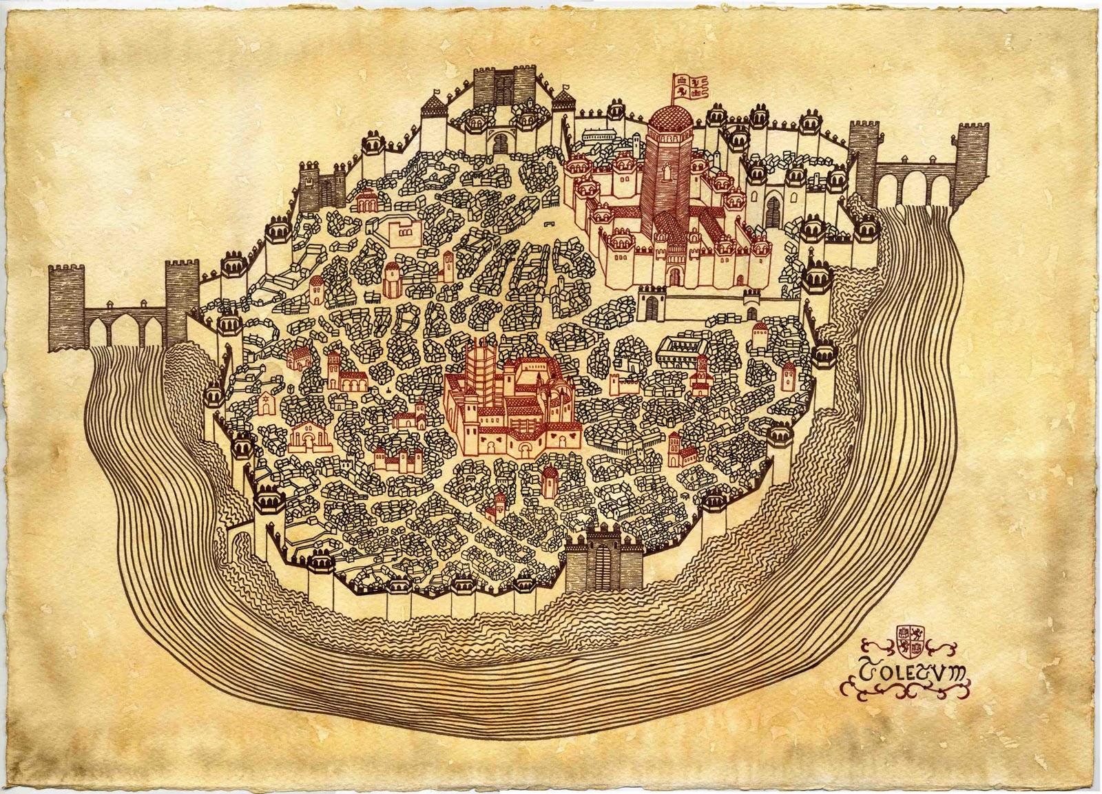 Plano imaginario de la ciudad de Toledo, dibujado para la serie.