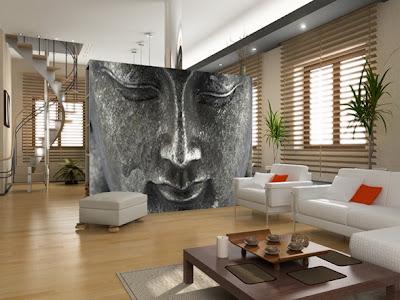 sala decorada con fotomural