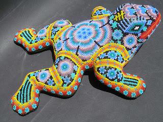 Huichol beaded frog
