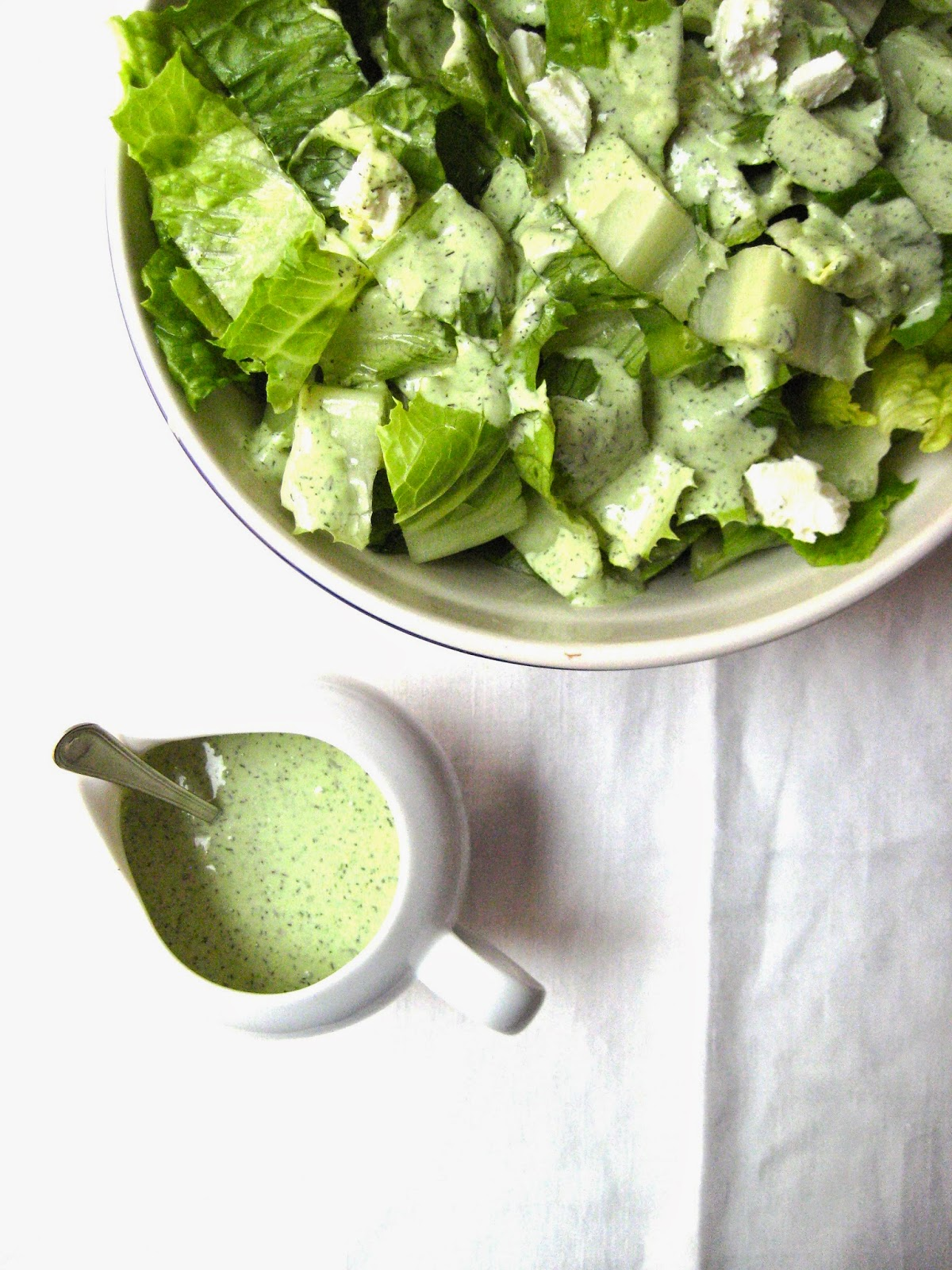 ... salad with garlicky buttermilk, goat cheese and fresh dill dressing
