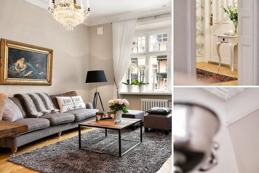 kanapa, sofa, szarość, stolik, lampa na trzech nogach