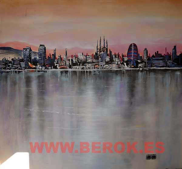 Mural cuadro skyline de Barcelona