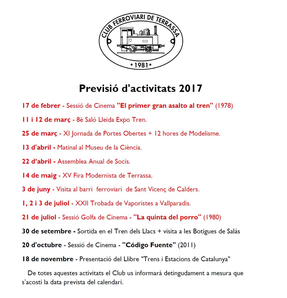 Nova Actualització de la Previsió d'Activitats del Club Ferroviari de Terrassa. 16-SETEMBRE-2017