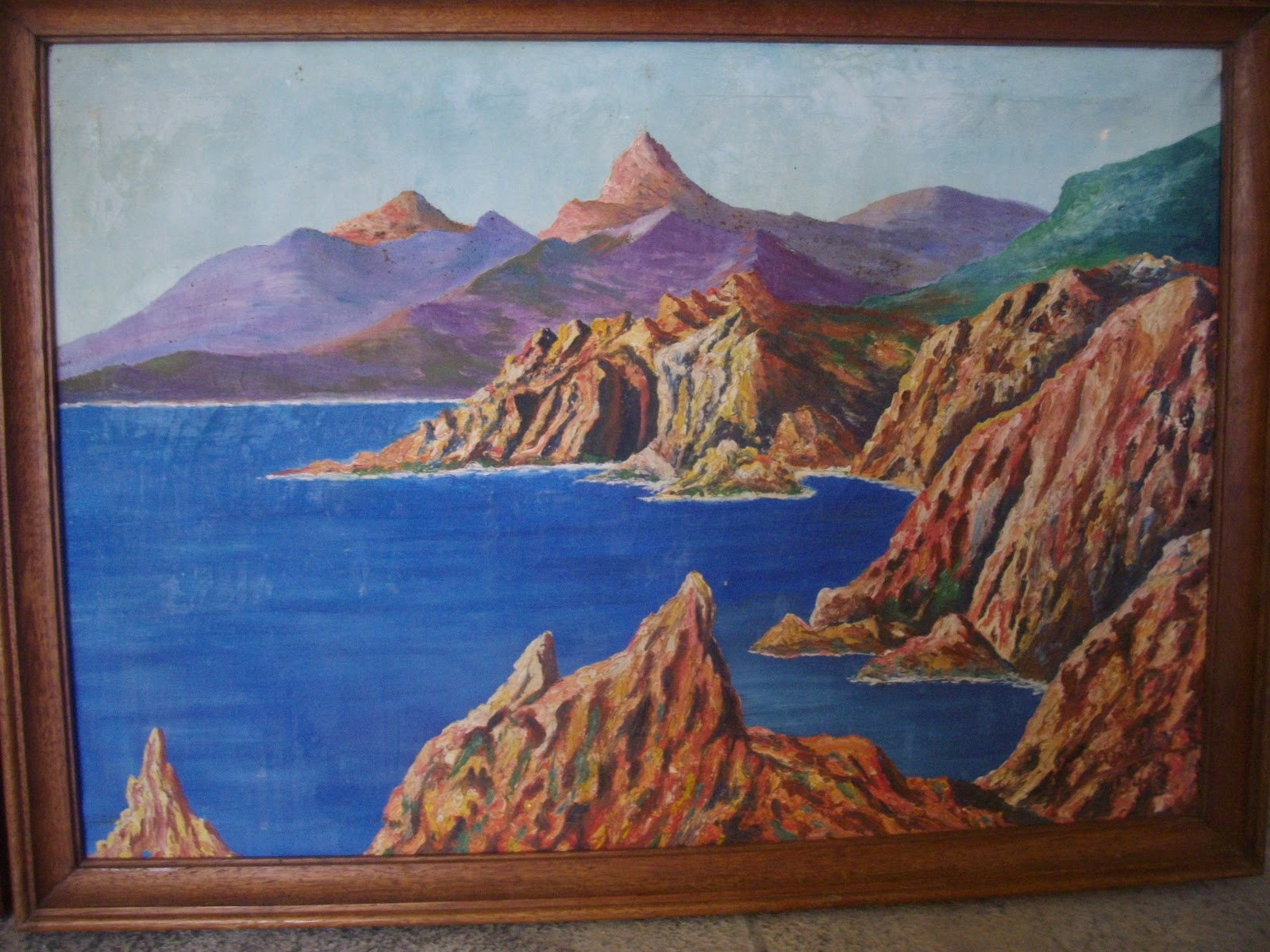 ancienne paire de tableaux marine bord de mer cote d 39 azur sign signature a identifier i. Black Bedroom Furniture Sets. Home Design Ideas
