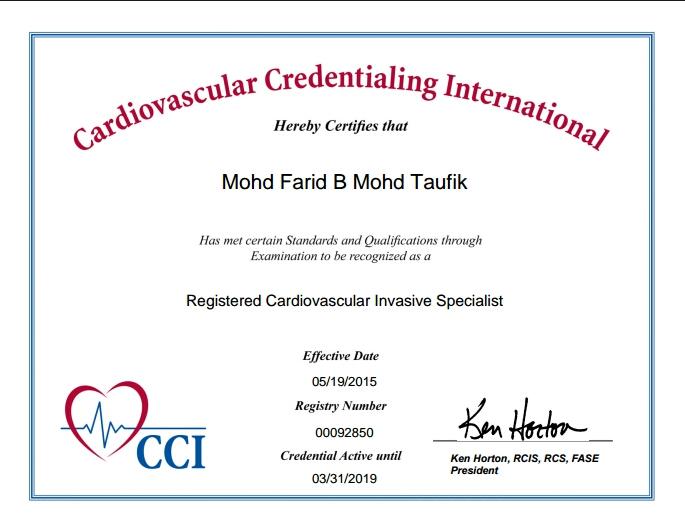 Registered Cardiovascular Invasive Specialist (RCIS)
