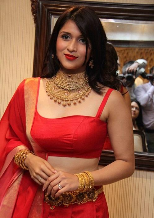 Mannara Chopra red dress hot