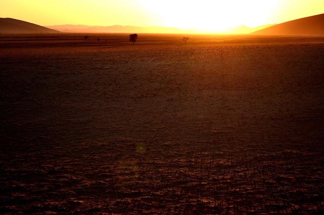Sunrise in the desert of Sossusvlei