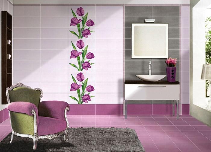 Ba os color violeta ideas para decorar dise ar y - Banos de contraste ...