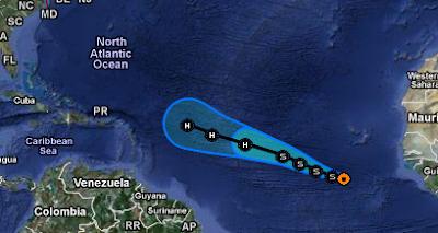 Tropisches Tief #12 (höchstwahrscheinlich Tropischer Sturm und Hurrikan KATIA) wandert auf die Karibik zu, 2011, aktuell, Atlantik, August, September, Hurrikansaison 2011, Katia, Zugbahn, Vorhersage Forecast Prognose, Verlauf, Karibik,