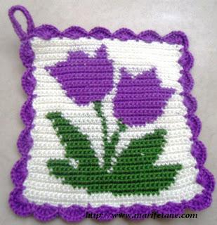 tığ işi battaniye motifi  veya tutacak