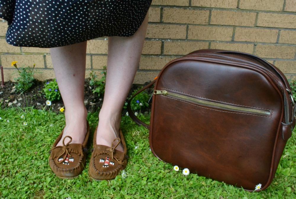 vintage bag dress polka dots minnetonka mocassins