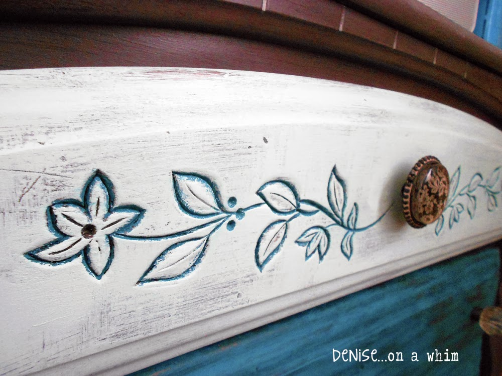 Painted Floral Insets on a Dresser Makeover via http://deniseaonwhim.blogspot.com