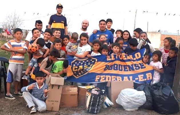 EL MURO de Retórica / Agrupación de hinchas de Boca de Federal entregó donaciones a merendero