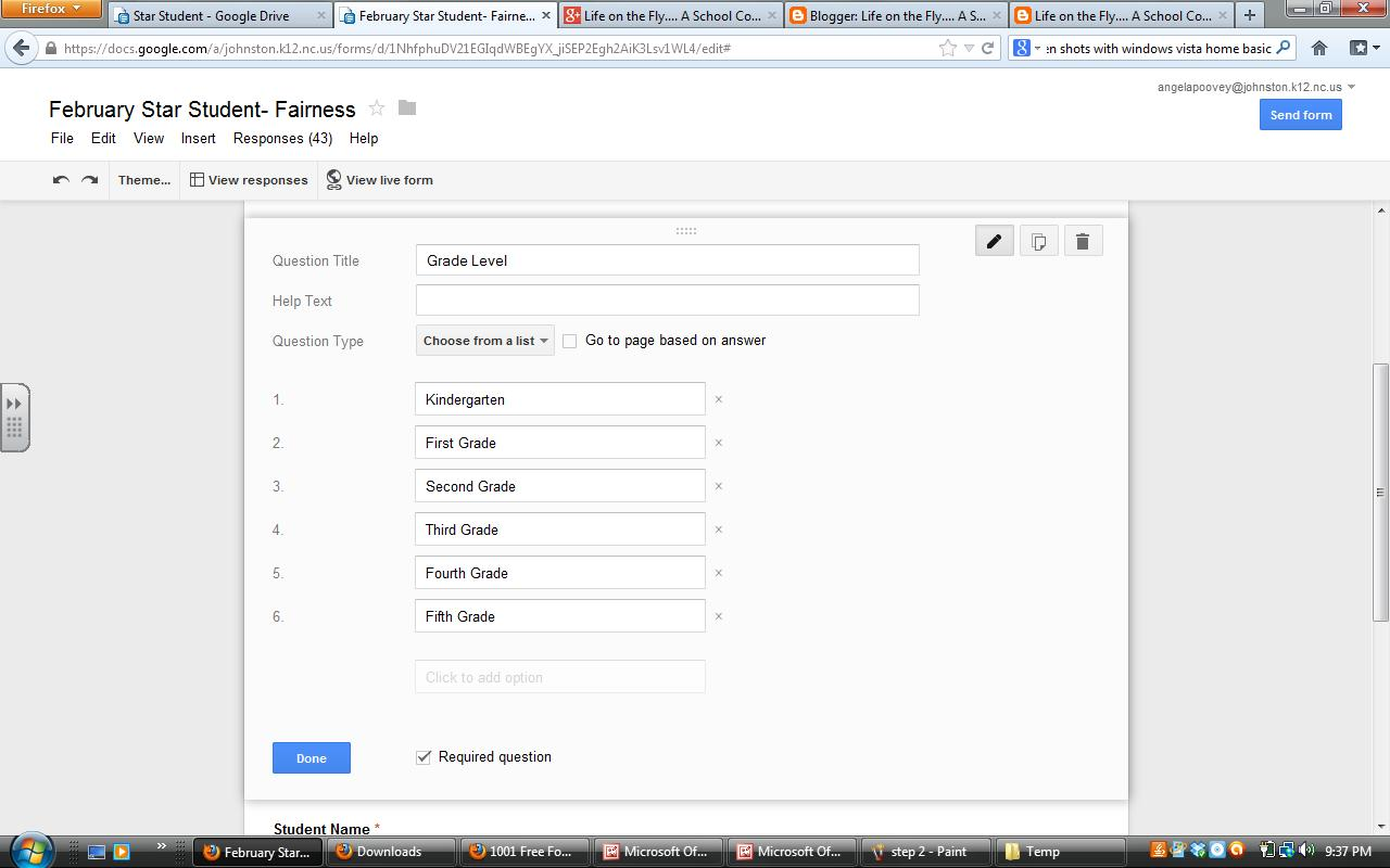 google forms how to add linear scale grid