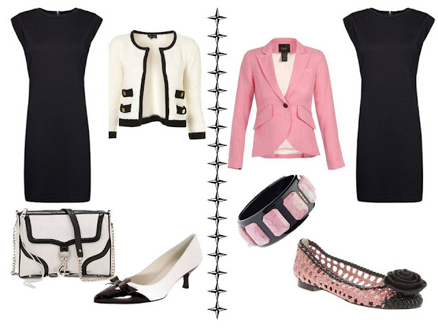 A simple black dress, worn with black and white accessories, and with pink and black accessories