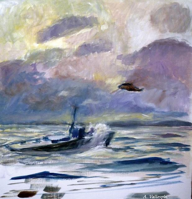 Pintura al óleo de un rescate en el mar primer boceto
