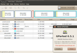unallocated space viewing on gparted 0.5.1 linux partition magic