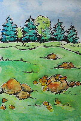 artist journal drawing of rocks in a field