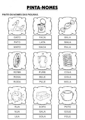 Atividades para Alfabetizar -Pinte o nome da figura