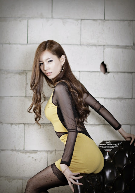 4 Lee Ji Min - Yellow Mini Dress-very cute asian girl-girlcute4u.blogspot.com