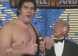 WWF / WWE WRESTLEMANIA 4: Andre The Giant with Bob Uecker