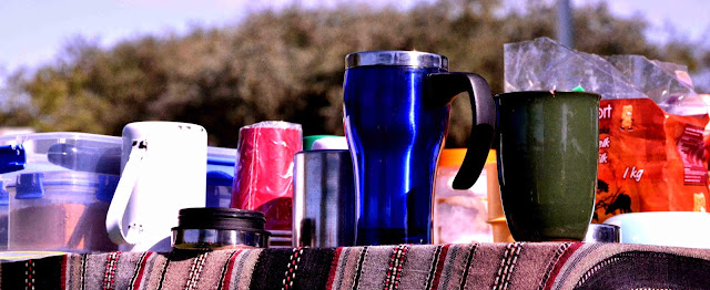 Camping cups on top of a table