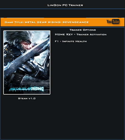 Metal Gear Rising Revengeance v1.0 Trainer +1 [LinGon]