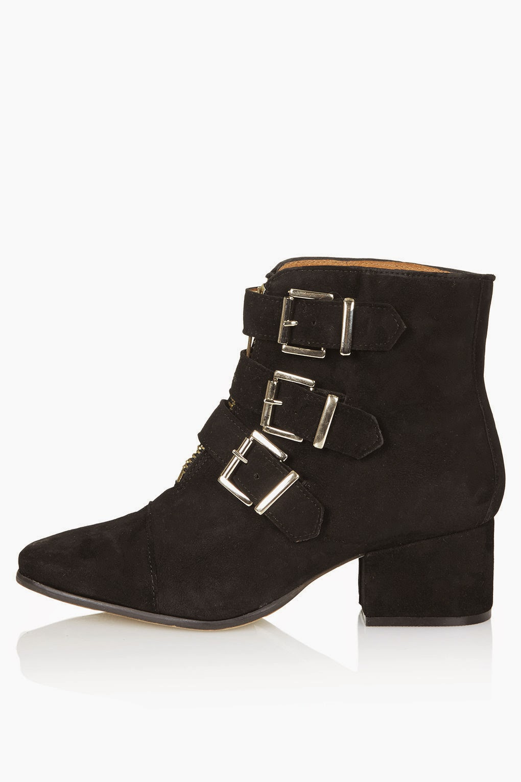 black suede buckled boot