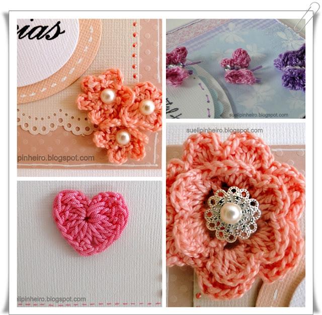 ganchillo, flores, mariposas y corazón