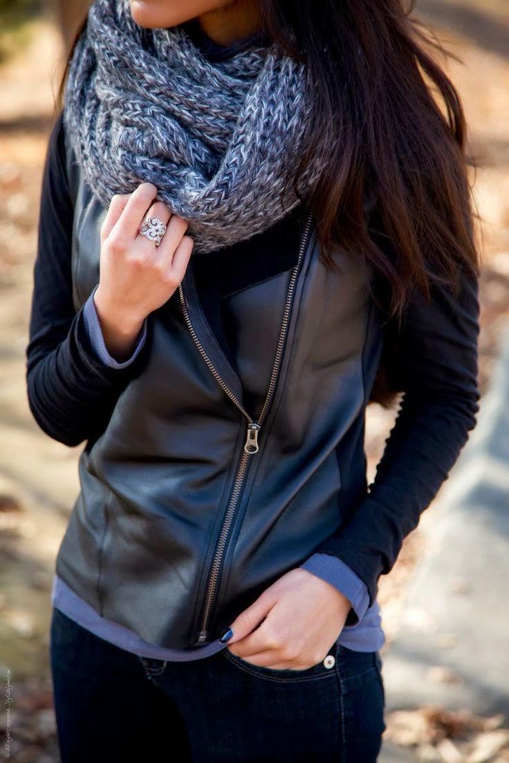 Woman's Fashion Black Asymmetrical Leather Jacket with Gray Circle Scarf