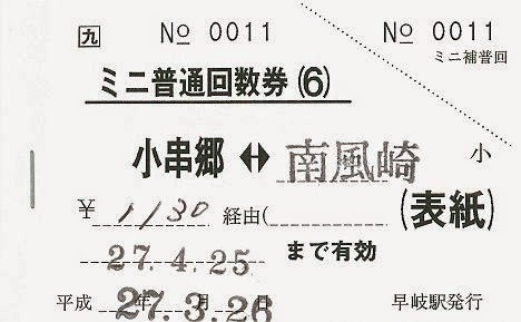 JR九州 千綿駅 ミニ普通回数券