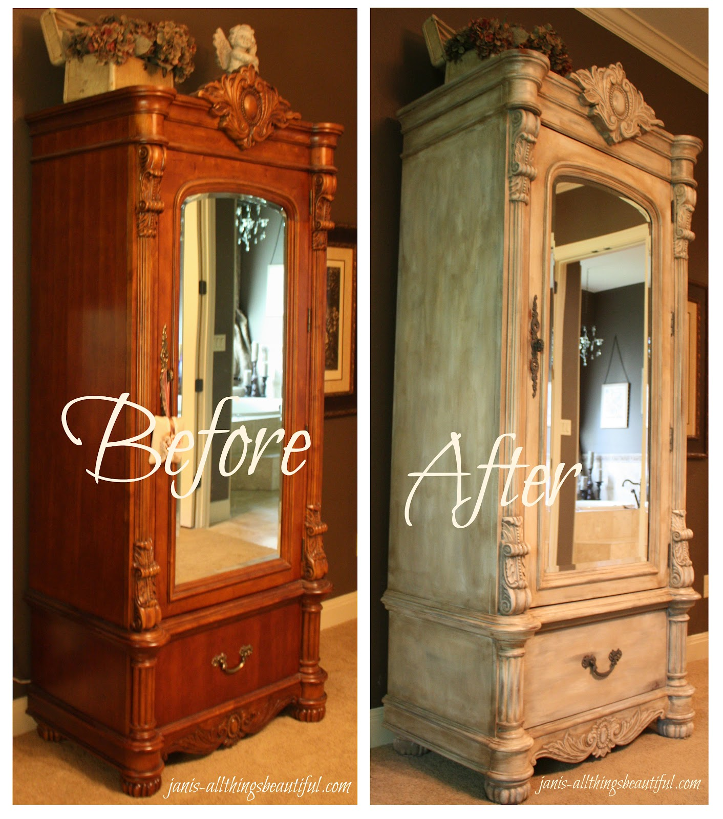 all things beautiful armoire painted furniture makeover. Black Bedroom Furniture Sets. Home Design Ideas