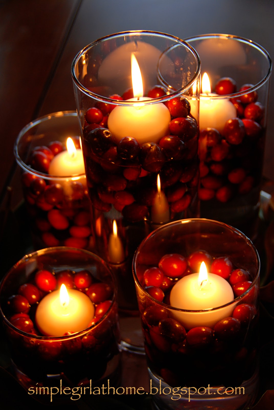 Simple girl floating candle advent centerpiece