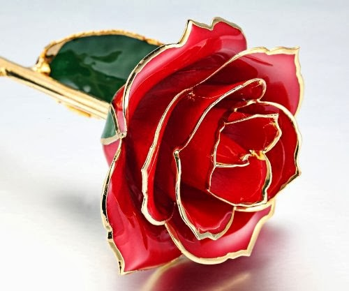 Gold Rose love forever Long Stem Dipped 24K Rose Foil Trim, Gifts For Her