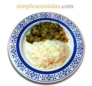 camarones con apio y arroz