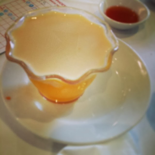 yum cha, dessert, mango pudding, condensed milk