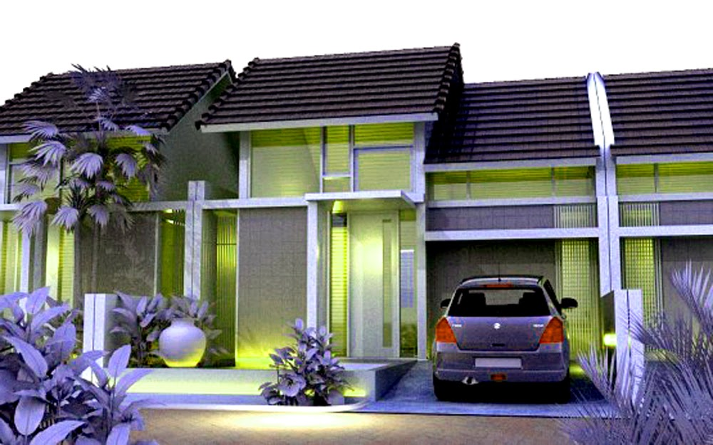 Model Rumah Minimalis Sederhana type 36 warna hijau