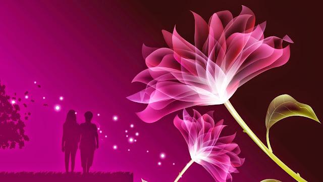 Imagen de la silueta de una hija caminando con su madre y a un lado, dos hermosas flores holográficas, todo sobre un fondo violeta.