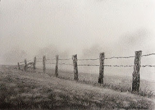 original charcoal painting of a foggy day landscape by Manju Panchal