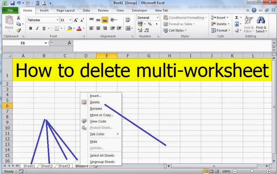 math worksheet : fast method of deleting excel multiple worksheets with a simple  : Multiple Worksheets In Excel