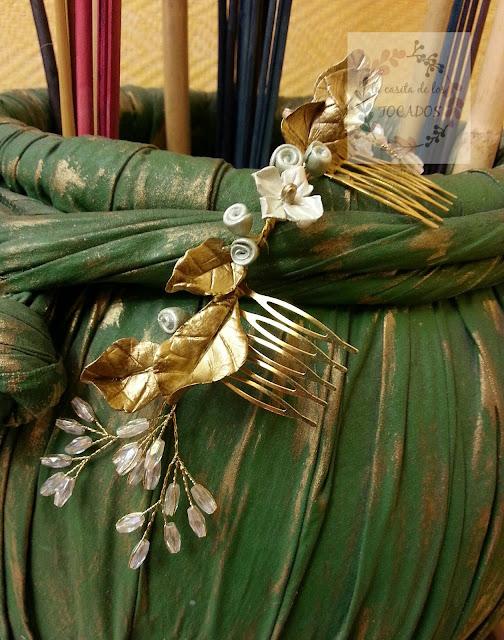 tocado para novia con porcelana y cristales realizado de forma artesanal