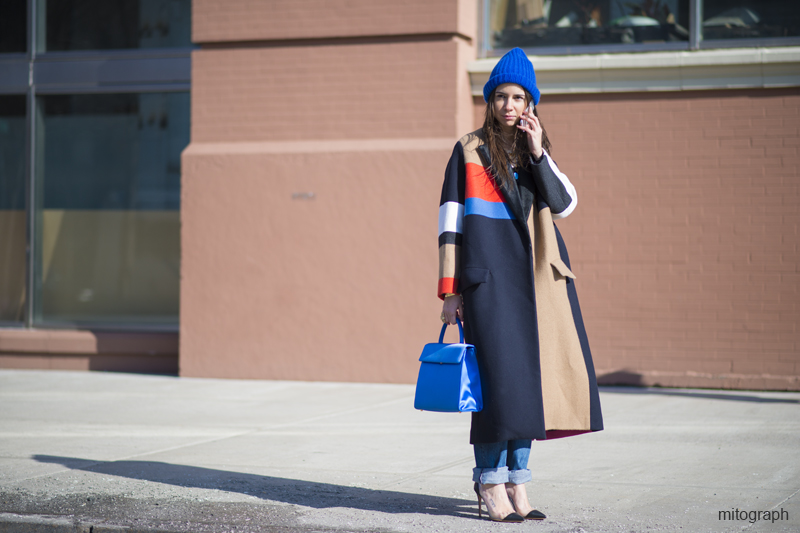 mitograph Natasha Goldenberg Wearing Celine Coat After Diesel Black Gold New York Fashion Week 2013 2014 Fall Winter NYFW