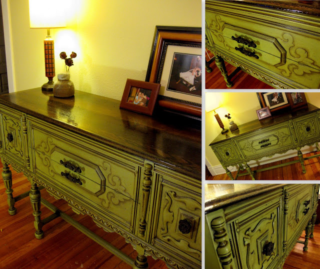 This gorgeous piece of furniture was created using the DIY glazing technique  found in this tutorial - DIY Glazing And Antiquing Furniture Tutorial Reality Daydream