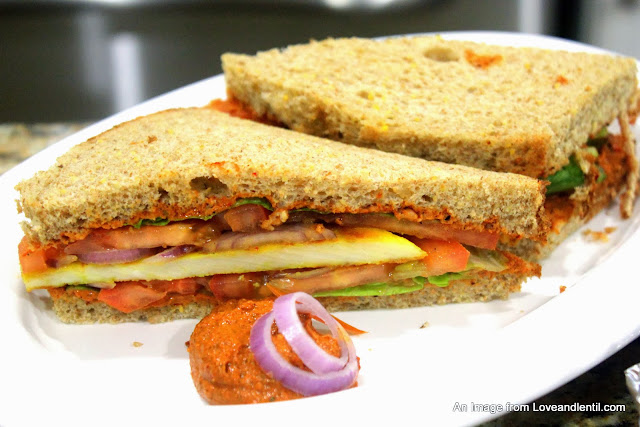 ... : Spicy Paneer Sandwich with Homemade Anaheim Pepper Peanut Spread